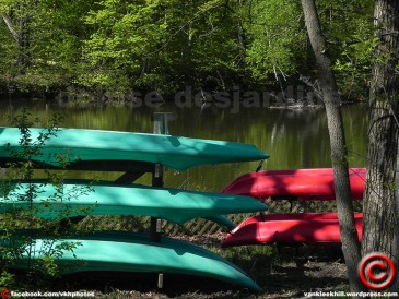Canoes on the rack at Quebec's 'Parc national de Plaisance'.